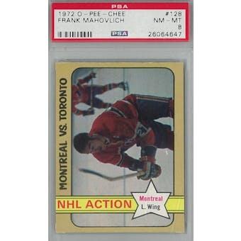 1972/73 O-Pee-Chee Hockey #128 Frank Mahovlich PSA 8 (NM-MT) *4647 (Reed Buy)