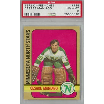 1972/73 O-Pee-Chee Hockey #138 Cesare Maniago PSA 8 (NM-MT) *6378 (Reed Buy)