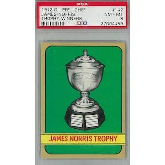 1972/73 O-Pee-Chee Hockey #142 James Norris Trophy Winners PSA 8 (NM-MT) *4459 (Reed Buy)