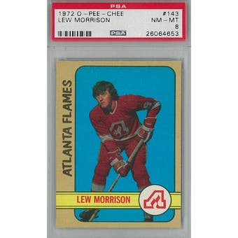 1972/73 O-Pee-Chee Hockey #143 Lew Morrison PSA 8 (NM-MT) *4653 (Reed Buy)