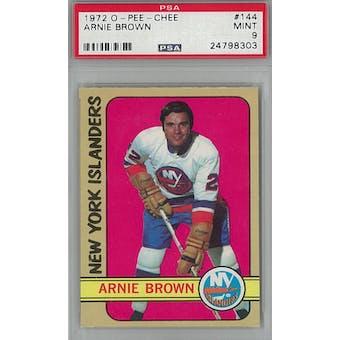 1972/73 O-Pee-Chee Hockey #144 Arnie Brown PSA 9 (Mint) *8303 (Reed Buy)