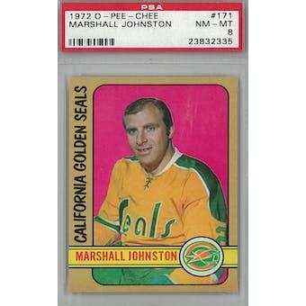 1972/73 O-Pee-Chee Hockey #171 Marshall Johnston PSA 8 (NM-MT) *2335 (Reed Buy)