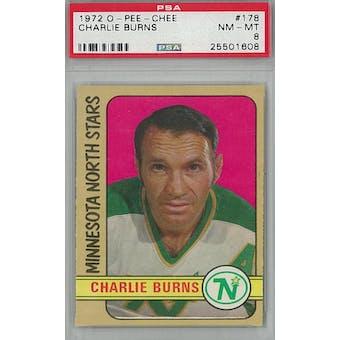 1972/73 O-Pee-Chee Hockey #178 Charlie Burns PSA 8 (NM-MT) *1608 (Reed Buy)