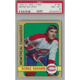 1972/73 O-Pee-Chee Hockey #185 Serge Savard PSA 8 (NM-MT) *4679 (Reed Buy)