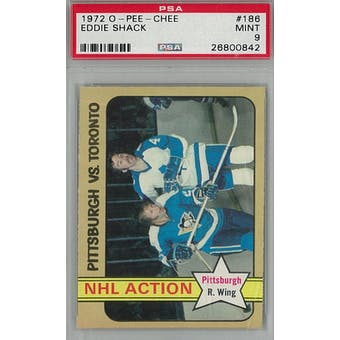 1972/73 O-Pee-Chee Hockey #186 Eddie Shack PSA 9 (Mint) *0842 (Reed Buy)