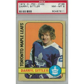 1972/73 O-Pee-Chee Hockey #188 Darryl Sittler PSA 8 (NM-MT) *7611 (Reed Buy)