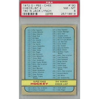 1972/73 O-Pee-Chee Hockey #190 Checklist 2 PSA 8 (NM-MT) *9818 (Reed Buy)