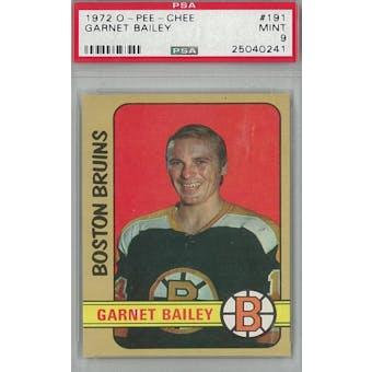 1972/73 O-Pee-Chee Hockey #191 Garnet Bailey PSA 9 (Mint) *0241 (Reed Buy)