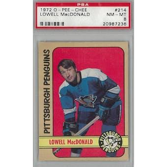 1972/73 O-Pee-Chee Hockey #214 Lowell MacDonald PSA 8 (NM-MT) *7236 (Reed Buy)