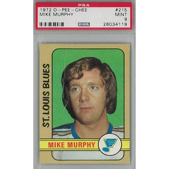 1972/73 O-Pee-Chee Hockey #215 Mike Murphy PSA 9 (Mint) *4119 (Reed Buy)