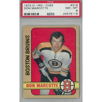 1972/73 O-Pee-Chee Hockey #219 Don Marcotte PSA 8 (NM-MT) *5119 (Reed Buy)