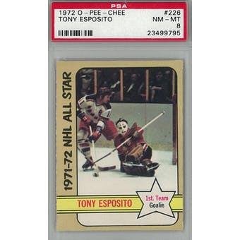 1972/73 O-Pee-Chee Hockey #226 Tony Esposito PSA 8 (NM-MT) *9795 (Reed Buy)
