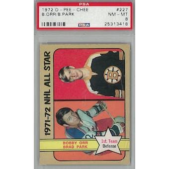 1972/73 O-Pee-Chee Hockey #227 Bobby Orr/Brad Park PSA 8 (NM-MT) *3418 (Reed Buy)