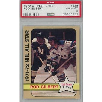 1972/73 O-Pee-Chee Hockey #229 Rod Gilbert PSA 8 (NM-MT) *6352 (Reed Buy)