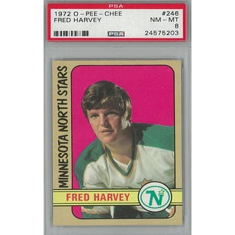1972/73 O-Pee-Chee Hockey #246 Fred Harvey PSA 8 (NM-MT) *5203 (Reed Buy)