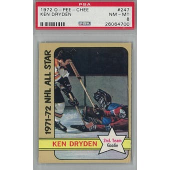 1972/73 O-Pee-Chee Hockey #247 Ken Dryden PSA 8 (NM-MT) *4700 (Reed Buy)