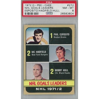 1972/73 O-Pee-Chee Hockey #272 Esposito/Hadfield/Hull PSA 8 (NM-MT) *3604 (Reed Buy)