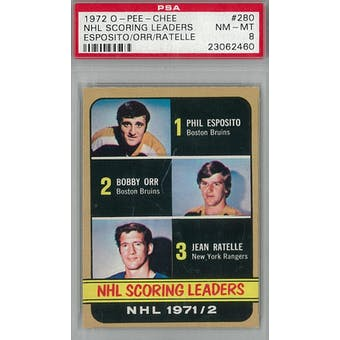 1972/73 O-Pee-Chee Hockey #280 Esposito/Orr/Ratelle Scoring Leaders PSA 8 (NM-MT) *2460 (Reed Buy)