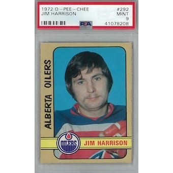 1972/73 O-Pee-Chee Hockey #292 Jim Harrison PSA 9 (Mint) *8208 (Reed Buy)