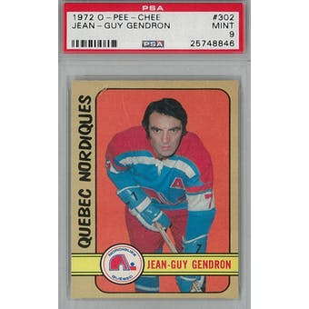 1972/73 O-Pee-Chee Hockey #302 Jean-Guy Gendron PSA 9 (Mint) *8846 (Reed Buy)