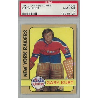 1972/73 O-Pee-Chee Hockey #306 Gary Kurt PSA 8 (NM-MT) *8121 (Reed Buy)