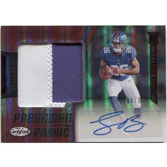 2018 Certified Saquon Barkley Rookie 2-Color Patch Auto #4/75 *CREASED*