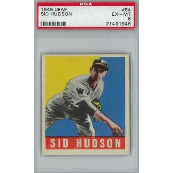 1948 Leaf Baseball #84 Sid Hudson PSA 6 (EX-MT) *1946 (Reed Buy)