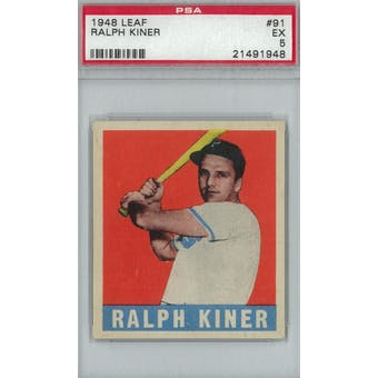 1948 Leaf Baseball #91 Ralph Kiner RC PSA 5 (EX) *1948 (Reed Buy)