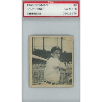 1948 Bowman Baseball #3 Ralph Kiner RC PSA 6 (EX-MT) *5578 (Reed Buy)