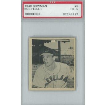 1948 Bowman Baseball #5 Bob Feller PSA 5 (EX) *4717 (Reed Buy)