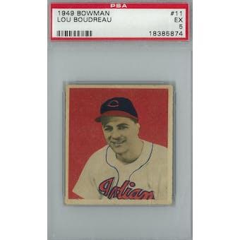 1949 Bowman Baseball #11 Lou Boudreau PSA 5 (EX) *5874 (Reed Buy)