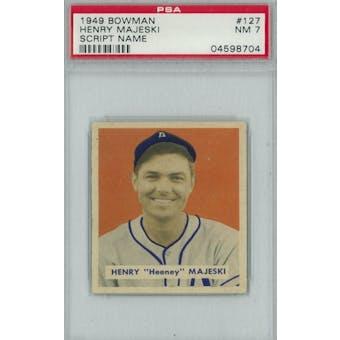 1949 Bowman Baseball #127 Henry Majeski Script Name PSA 7 (NM) *8704 (Reed Buy)