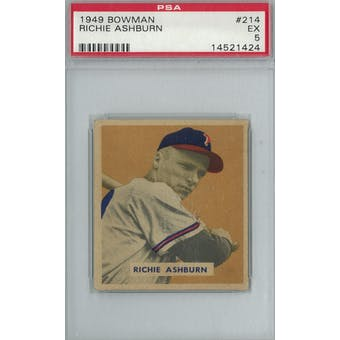 1949 Bowman Baseball #214 Richie Ashburn RC PSA 5 (EX) *1424 (Reed Buy)