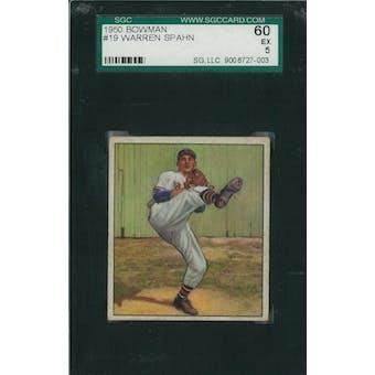 1950 Bowman Baseball #19 Warren Spahn SGC 60 (EX) *7003 (Reed Buy)