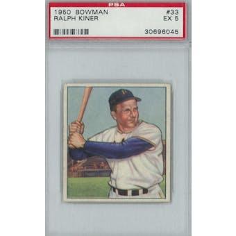 1950 Bowman Baseball #33 Ralph Kiner PSA 5 (EX) *6045 (Reed Buy)