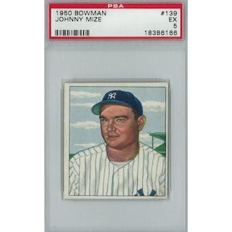 1950 Bowman Baseball #139 Johnny Mize PSA 5 (EX) *6166 (Reed Buy)