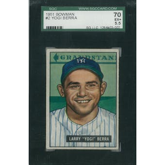 1951 Bowman Baseball #2 Yogi Berra SGC 70 (EX+) *3002 (Reed Buy)