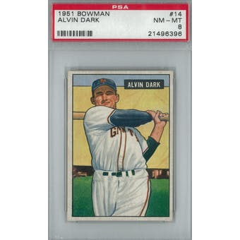 1951 Bowman Baseball #14 Alvin Dark PSA 8 (NM-MT) *6396 (Reed Buy)