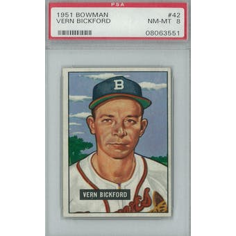 1951 Bowman Baseball #42 Vern Bickford PSA 8 (NM-MT) *3551 (Reed Buy)