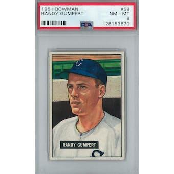 1951 Bowman Baseball #59 Randy Gumpert PSA 8 (NM-MT) *3670 (Reed Buy)