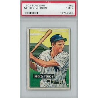 1951 Bowman Baseball #65 Mickey Vernon PSA 7 (NM) *7587 (Reed Buy)
