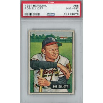 1951 Bowman Baseball #66 Bob Elliott PSA 8 (NM-MT) *9878 (Reed Buy)