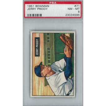 1951 Bowman Baseball #71 Jerry Priddy PSA 8 (NM-MT) *4596 (Reed Buy)