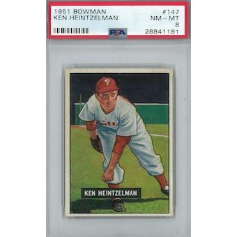 1951 Bowman Baseball #147 Ken Heintzelman PSA 8 (NM-MT) *1181 (Reed Buy)