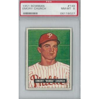1951 Bowman Baseball #149 Emory Church PSA 8 (NM-MT) *8027 (Reed Buy)