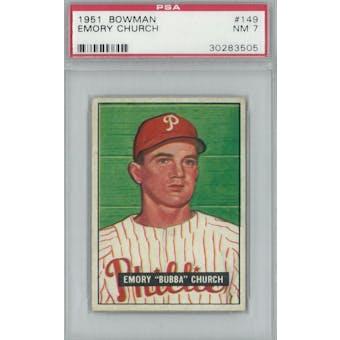 1951 Bowman Baseball #149 Emory Church PSA 7 (NM) *3505 (Reed Buy)