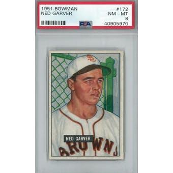 1951 Bowman Baseball #172 Ned Garver PSA 8 (NM-MT) *5970 (Reed Buy)