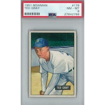 1951 Bowman Baseball #178 Ted Gray PSA 8 (NM-MT) *2788 (Reed Buy)