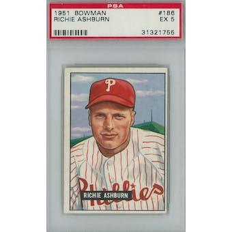 1951 Bowman Baseball #186 Richie Ashburn PSA 5 (EX) *1755 (Reed Buy)