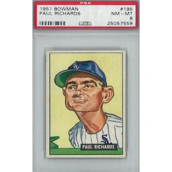 1951 Bowman Baseball #195 Paul Richards PSA 8 (NM-MT) *7559 (Reed Buy)